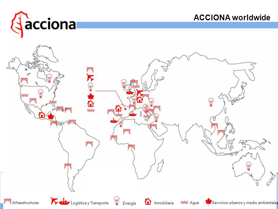 ACCIONA worldwide Infraestructuras Logística y Transporte Energía Inmobiliaria Agua Servicios urbanos y medio ambientales