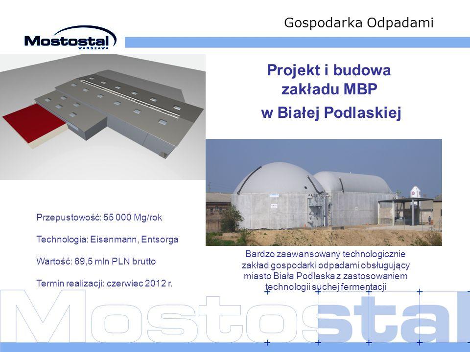 Gospodarka Odpadami Projekt i budowa zakładu MBP w Białej Podlaskiej Przepustowość: 55 000 Mg/rok Technologia: Eisenmann, Entsorga Wartość: 69,5 mln P