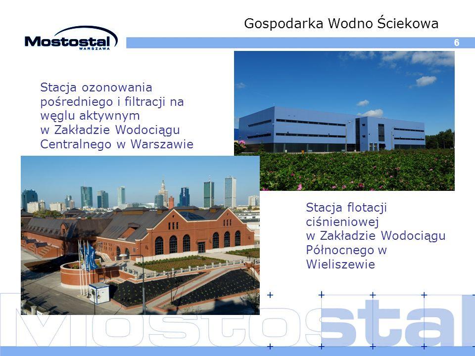 66 Gospodarka Wodno Ściekowa Stacja ozonowania pośredniego i filtracji na węglu aktywnym w Zakładzie Wodociągu Centralnego w Warszawie Stacja flotacji