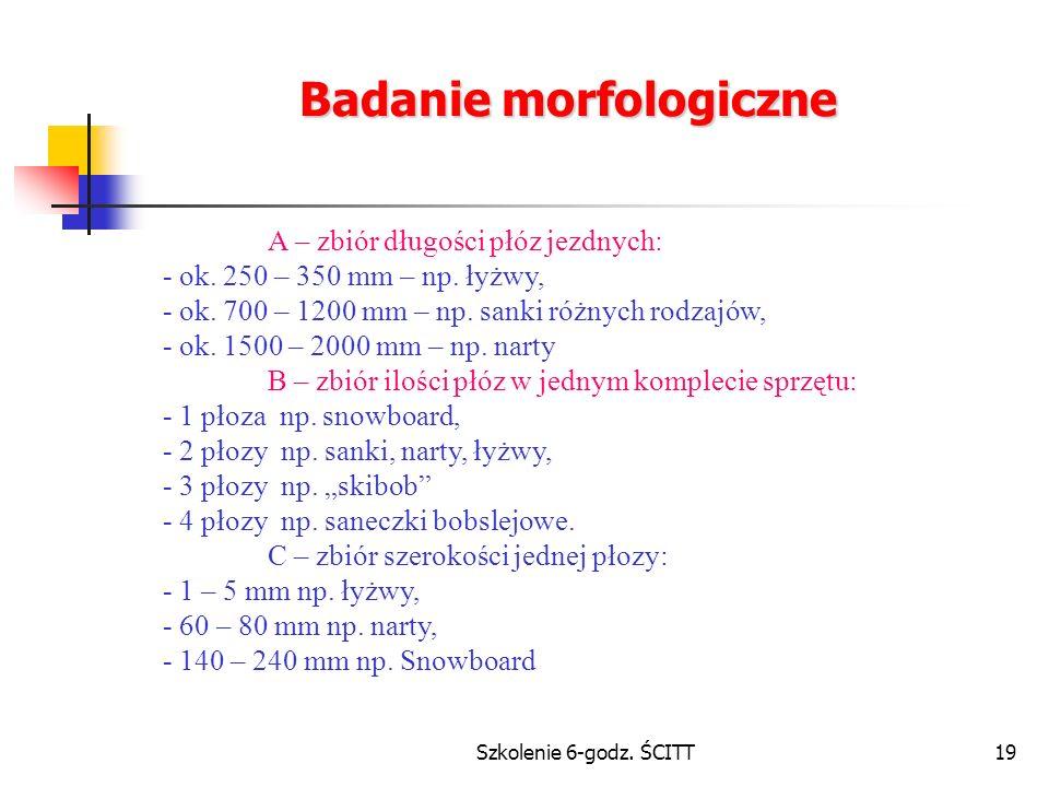 Szkolenie 6-godz.ŚCITT19 Badanie morfologiczne A – zbiór długości płóz jezdnych: - ok.