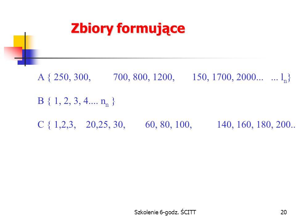 Szkolenie 6-godz.ŚCITT20 Zbiory formujące A { 250, 300, 700, 800, 1200, 150, 1700, 2000......