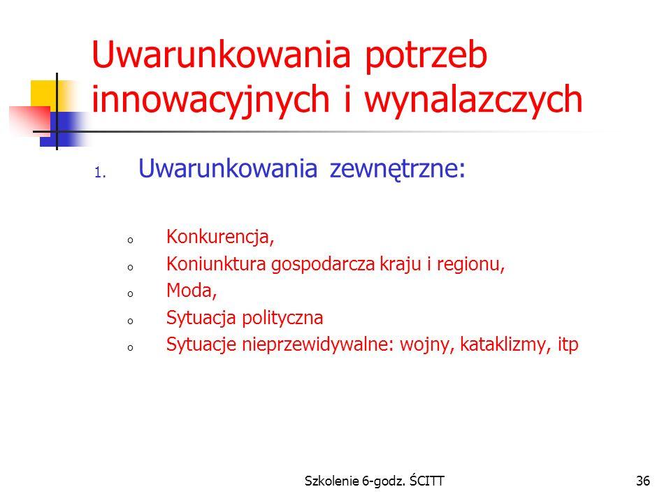 Szkolenie 6-godz.ŚCITT36 Uwarunkowania potrzeb innowacyjnych i wynalazczych 1.