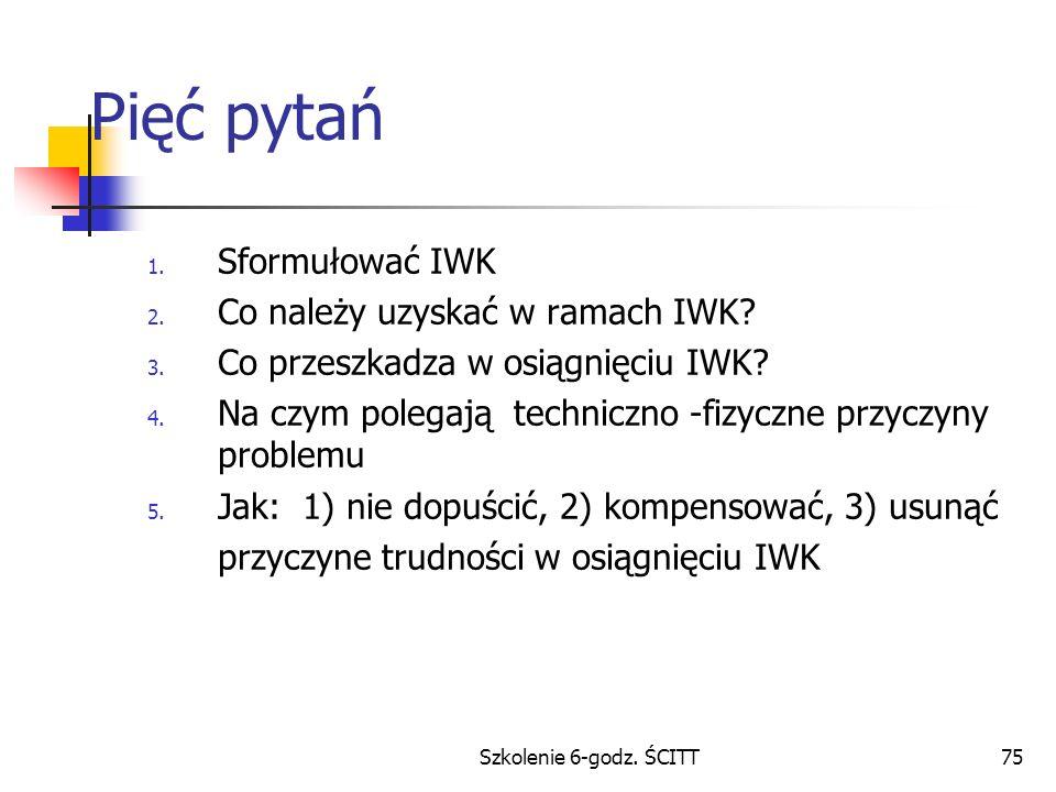 Szkolenie 6-godz.ŚCITT75 Pięć pytań 1. Sformułować IWK 2.