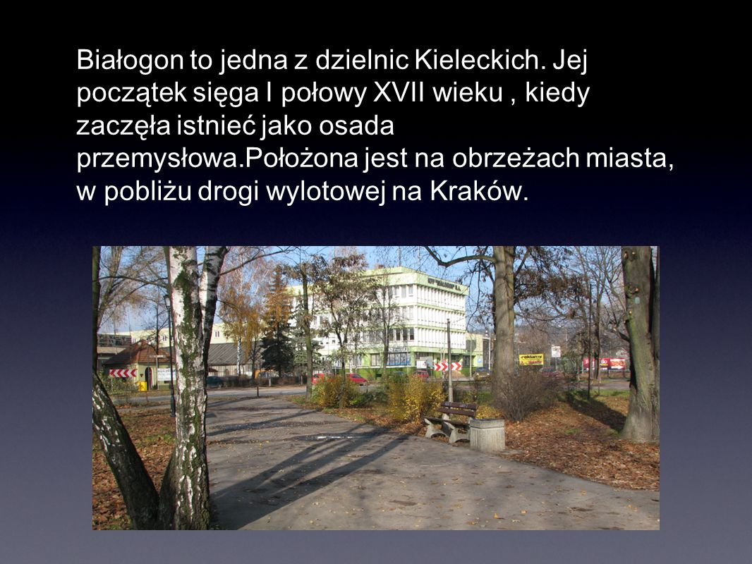 Białogon to jedna z dzielnic Kieleckich. Jej początek sięga I połowy XVII wieku, kiedy zaczęła istnieć jako osada przemysłowa.Położona jest na obrzeża