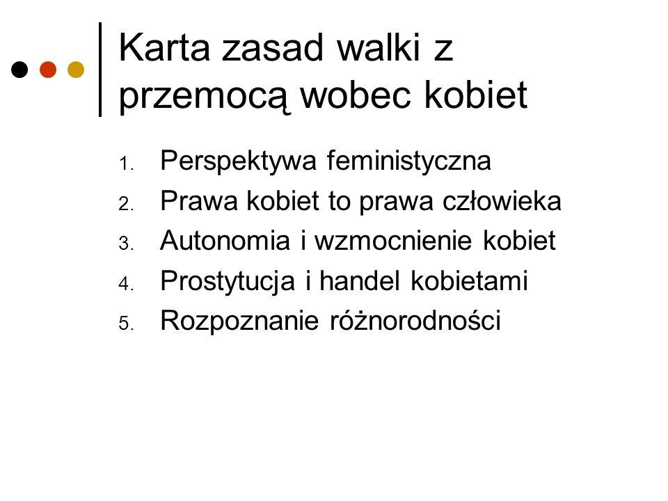 Karta zasad walki z przemocą wobec kobiet 1. Perspektywa feministyczna 2. Prawa kobiet to prawa człowieka 3. Autonomia i wzmocnienie kobiet 4. Prostyt