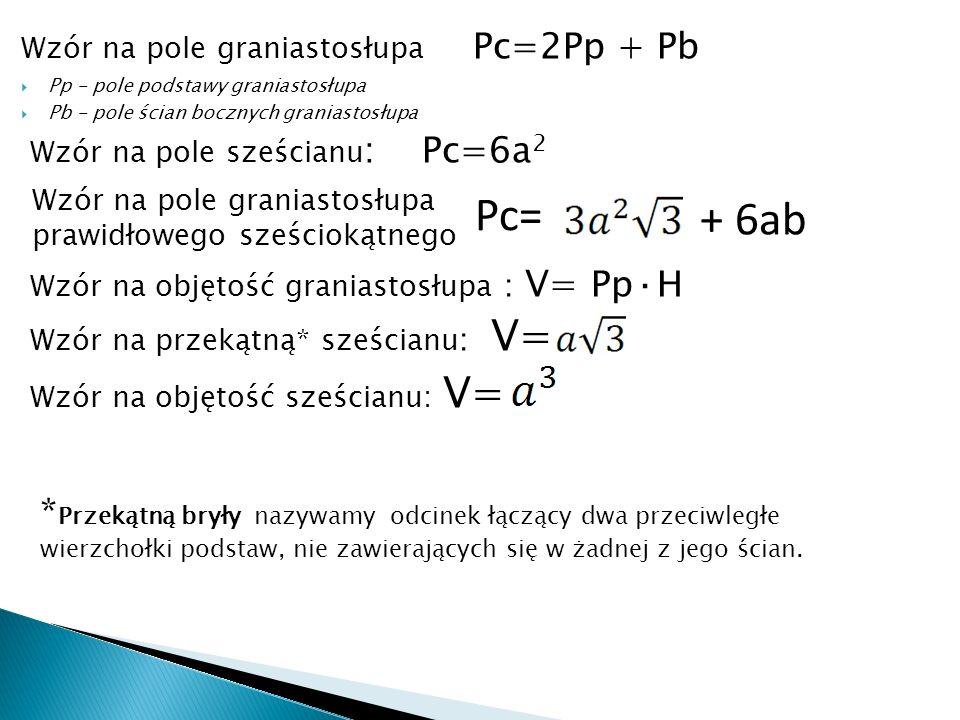 Wzór na pole graniastosłupa Pc=2Pp + Pb Pp - pole podstawy graniastosłupa Pb - pole ścian bocznych graniastosłupa Wzór na pole sześcianu : Pc=6a 2 Wzór na objętość graniastosłupa : V= Pp·H Wzór na przekątną* sześcianu : V= Wzór na objętość sześcianu: V= + 6ab Pc= * Przekątną bryły nazywamy odcinek łączący dwa przeciwległe wierzchołki podstaw, nie zawierających się w żadnej z jego ścian.