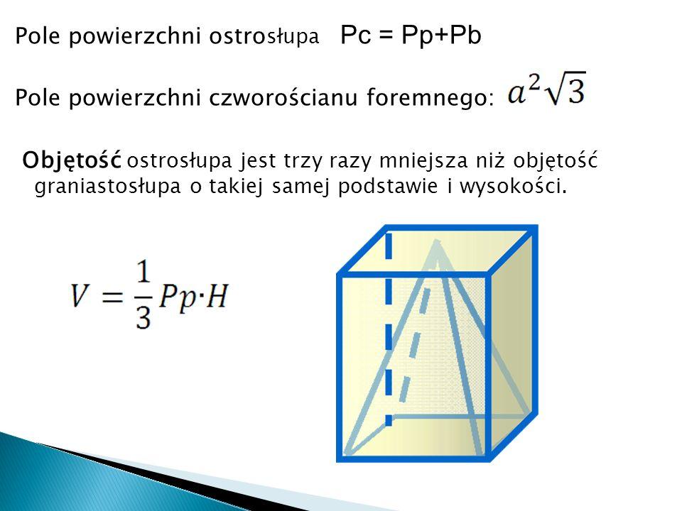 Pole powierzchni ostro słupa Pc = Pp+Pb Pole powierzchni czworościanu foremnego: Objętość ostrosłupa jest trzy razy mniejsza niż objętość graniastosłupa o takiej samej podstawie i wysokości.