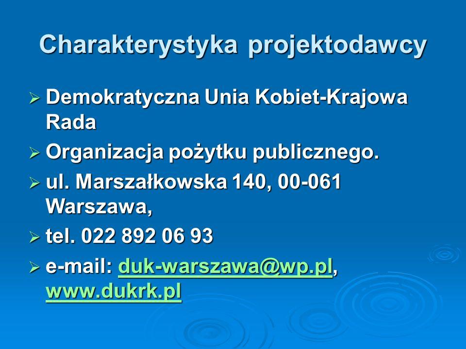 Charakterystyka projektodawcy Demokratyczna Unia Kobiet-Krajowa Rada Demokratyczna Unia Kobiet-Krajowa Rada Organizacja pożytku publicznego.