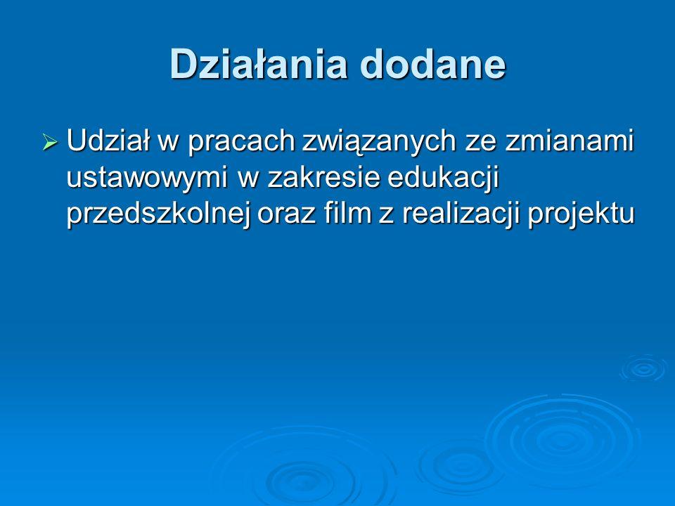 Działania dodane Udział w pracach związanych ze zmianami ustawowymi w zakresie edukacji przedszkolnej oraz film z realizacji projektu Udział w pracach związanych ze zmianami ustawowymi w zakresie edukacji przedszkolnej oraz film z realizacji projektu