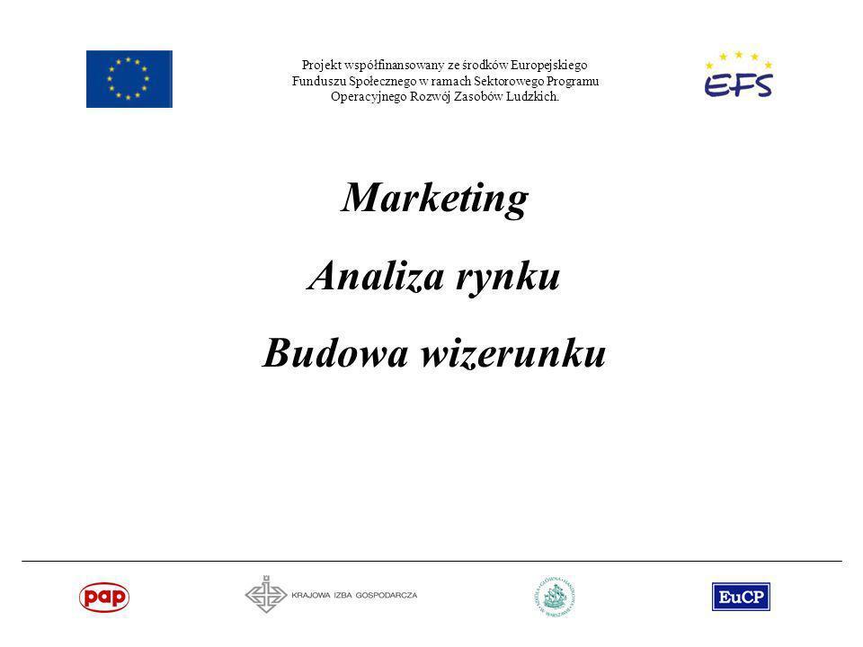 Projekt współfinansowany ze środków Europejskiego Funduszu Społecznego w ramach Sektorowego Programu Operacyjnego Rozwój Zasobów Ludzkich. Marketing A