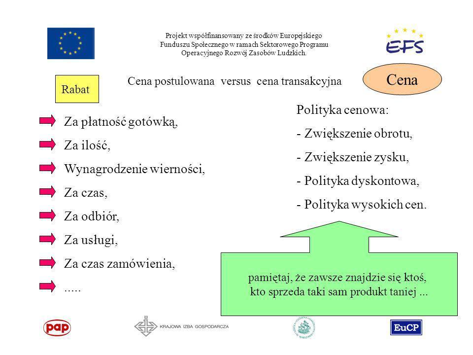 Projekt współfinansowany ze środków Europejskiego Funduszu Społecznego w ramach Sektorowego Programu Operacyjnego Rozwój Zasobów Ludzkich. Cena Cena p