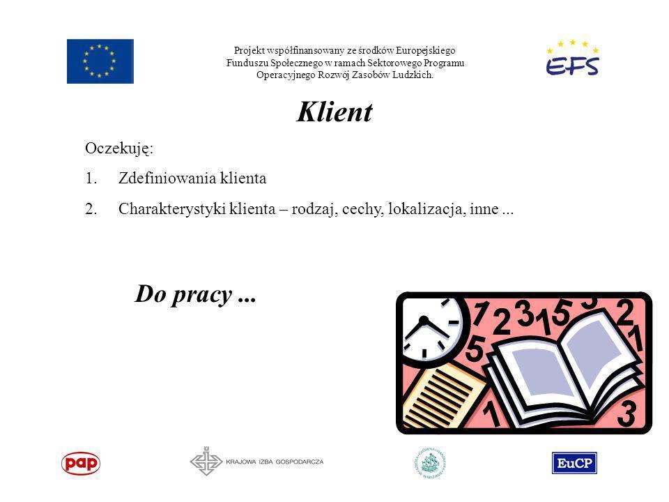 Projekt współfinansowany ze środków Europejskiego Funduszu Społecznego w ramach Sektorowego Programu Operacyjnego Rozwój Zasobów Ludzkich. Klient Ocze