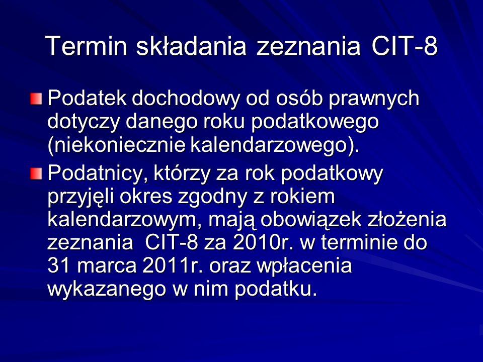 Termin składania zeznania CIT-8 Podatek dochodowy od osób prawnych dotyczy danego roku podatkowego (niekoniecznie kalendarzowego). Podatnicy, którzy z