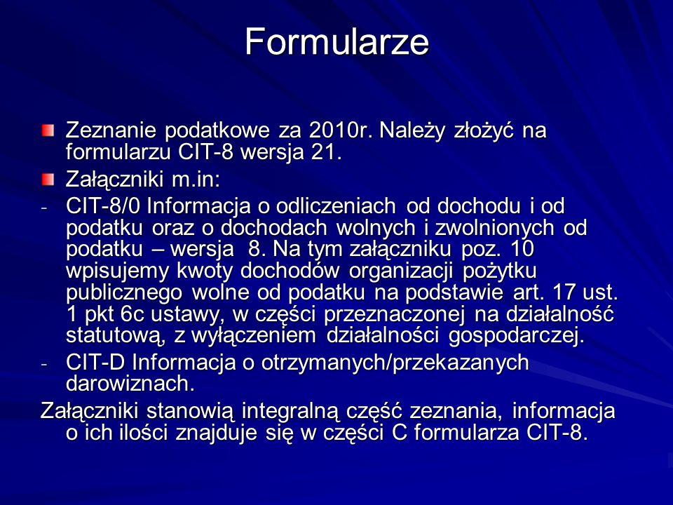 Formularze Zeznanie podatkowe za 2010r. Należy złożyć na formularzu CIT-8 wersja 21. Załączniki m.in: - CIT-8/0 Informacja o odliczeniach od dochodu i