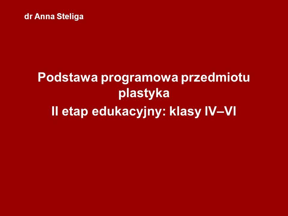 dr Anna Steliga Podstawa programowa przedmiotu plastyka II etap edukacyjny: klasy IV–VI