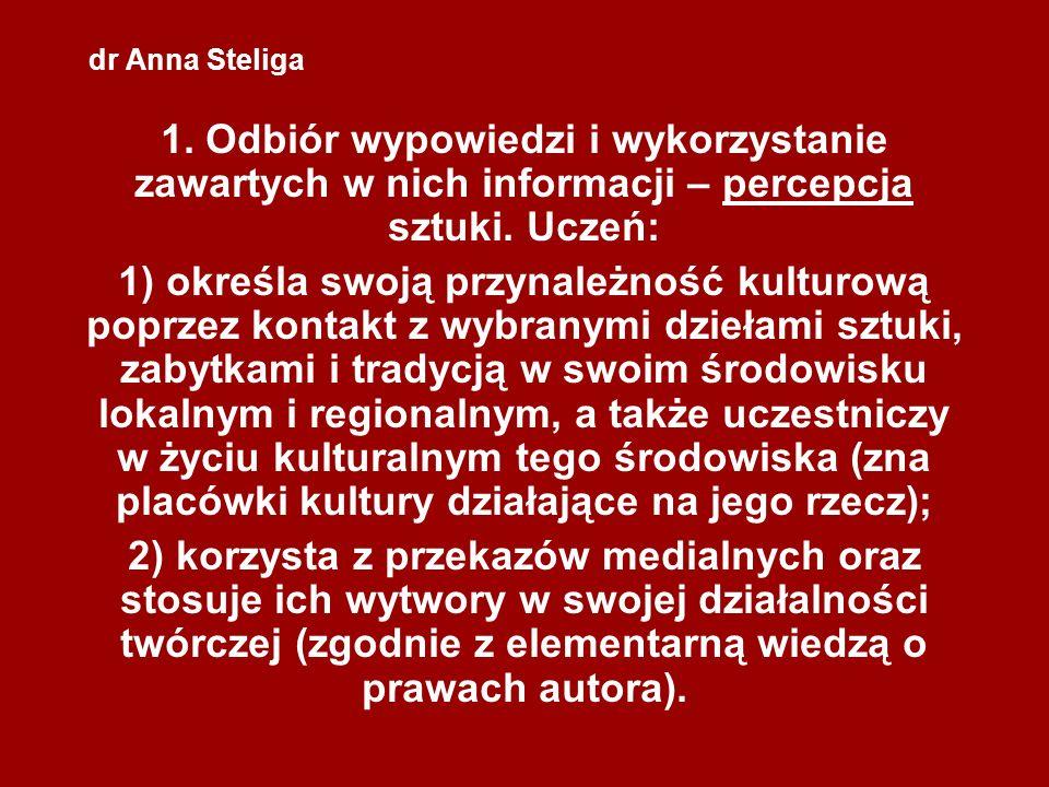 dr Anna Steliga 1. Odbiór wypowiedzi i wykorzystanie zawartych w nich informacji – percepcja sztuki. Uczeń: 1) określa swoją przynależność kulturową p