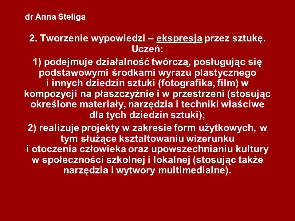 dr Anna Steliga 2. Tworzenie wypowiedzi – ekspresja przez sztukę. Uczeń: 1) podejmuje działalność twórczą, posługując się podstawowymi środkami wyrazu