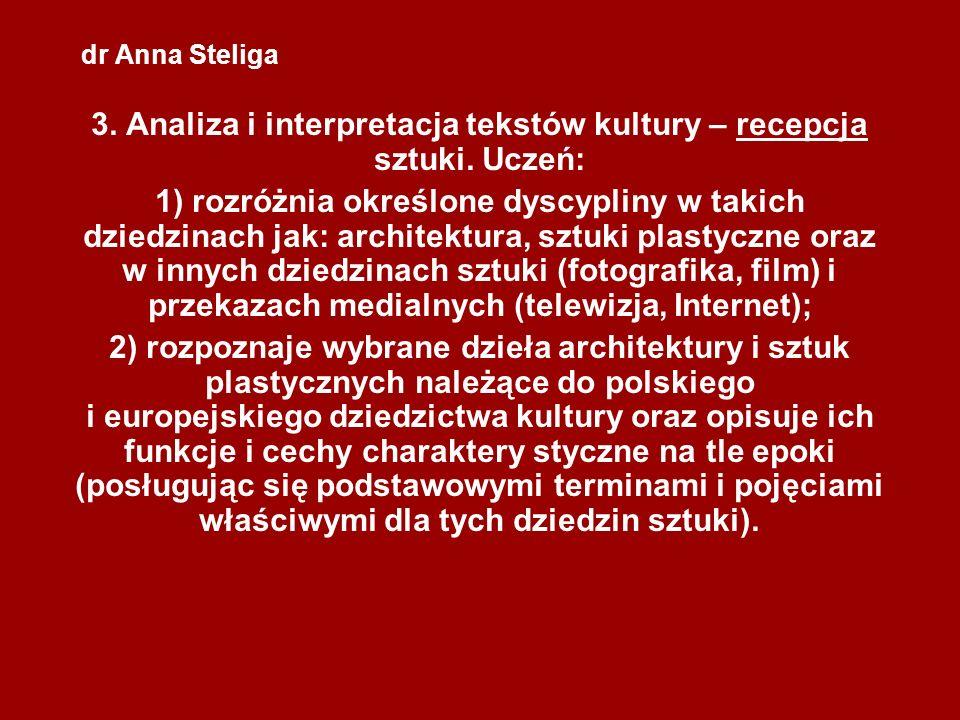 dr Anna Steliga 3. Analiza i interpretacja tekstów kultury – recepcja sztuki. Uczeń: 1) rozróżnia określone dyscypliny w takich dziedzinach jak: archi