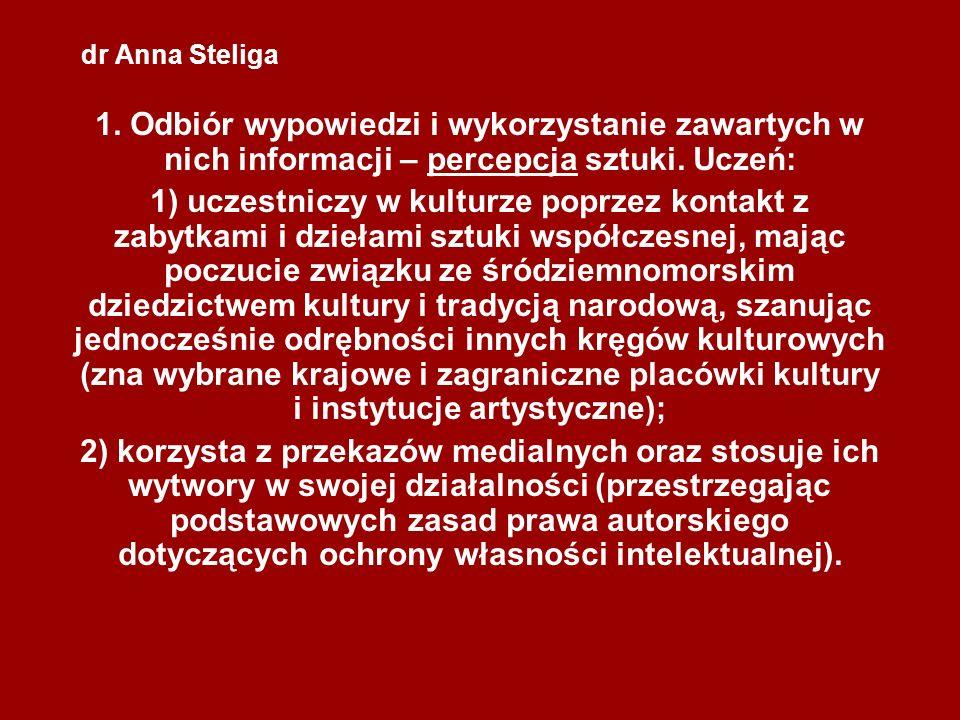 dr Anna Steliga 1. Odbiór wypowiedzi i wykorzystanie zawartych w nich informacji – percepcja sztuki. Uczeń: 1) uczestniczy w kulturze poprzez kontakt