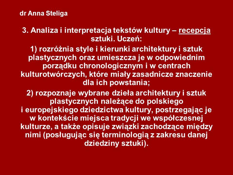 dr Anna Steliga 3. Analiza i interpretacja tekstów kultury – recepcja sztuki. Uczeń: 1) rozróżnia style i kierunki architektury i sztuk plastycznych o