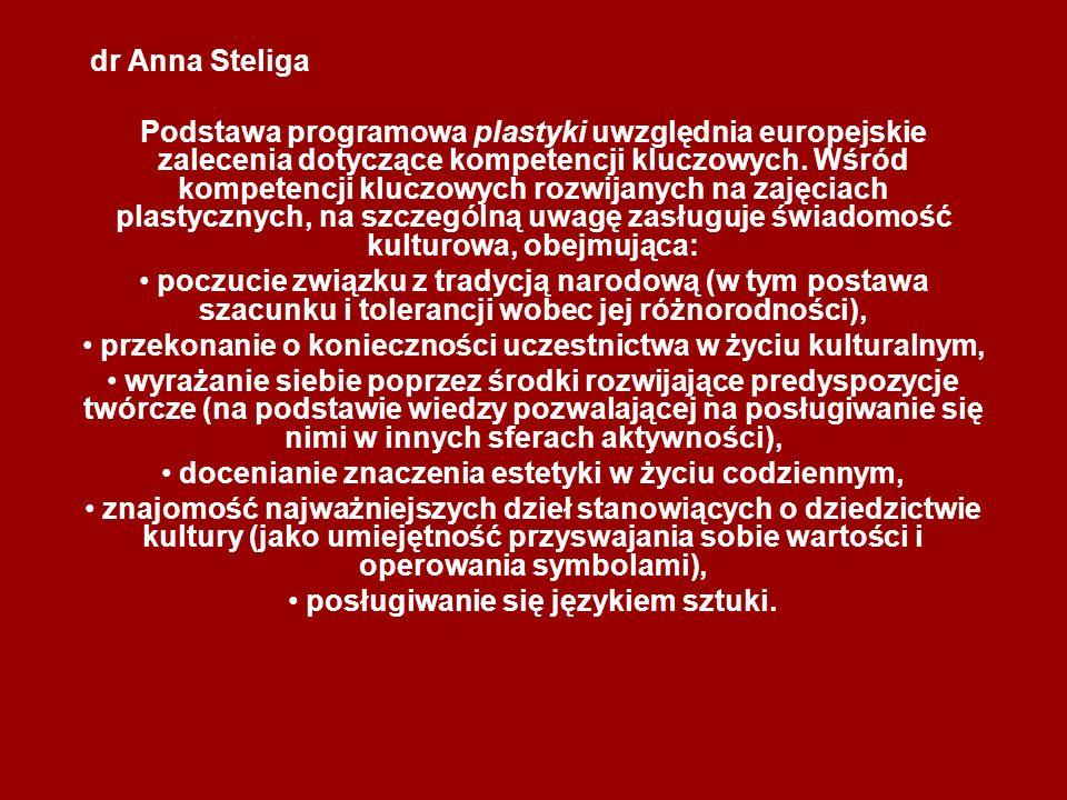dr Anna Steliga Podstawa programowa plastyki uwzględnia europejskie zalecenia dotyczące kompetencji kluczowych. Wśród kompetencji kluczowych rozwijany