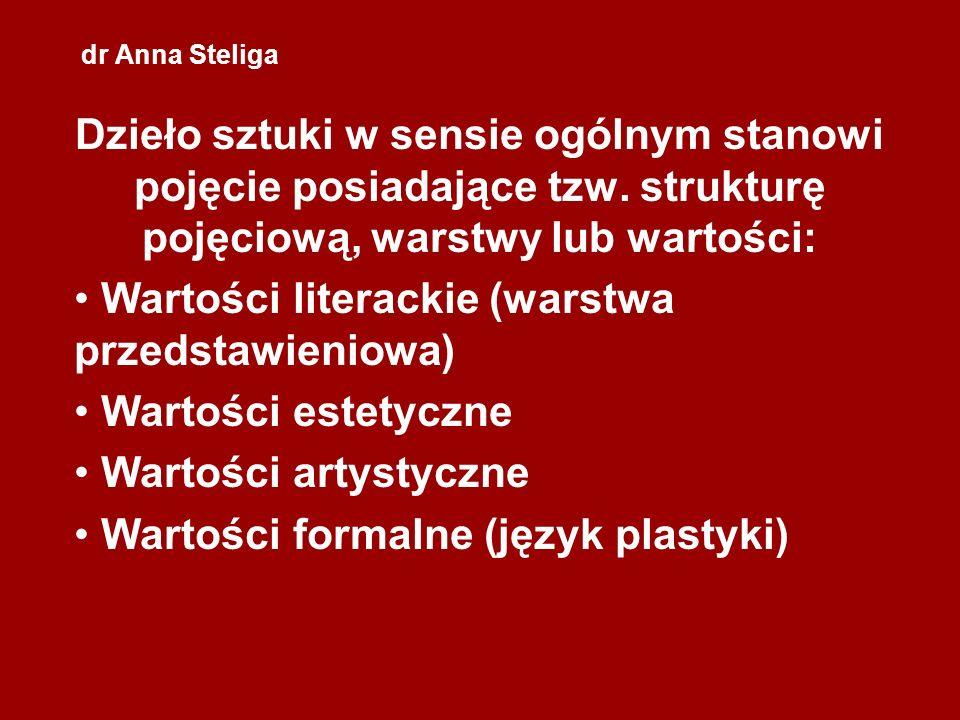 dr Anna Steliga Dzieło sztuki w sensie ogólnym stanowi pojęcie posiadające tzw. strukturę pojęciową, warstwy lub wartości: Wartości literackie (warstw
