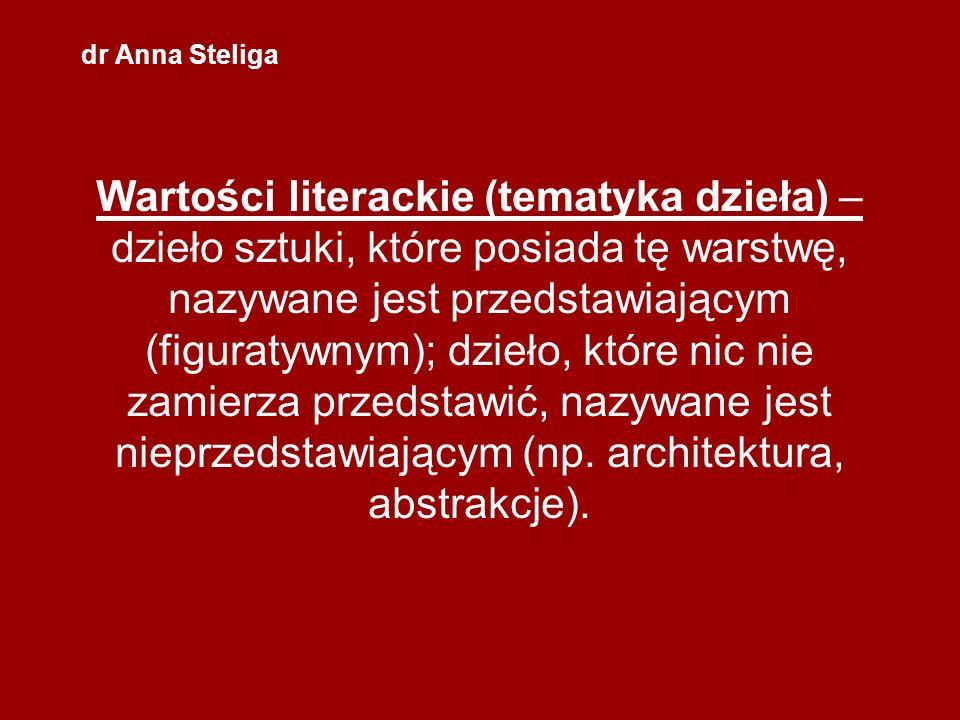 dr Anna Steliga Wartości literackie (tematyka dzieła) – dzieło sztuki, które posiada tę warstwę, nazywane jest przedstawiającym (figuratywnym); dzieło