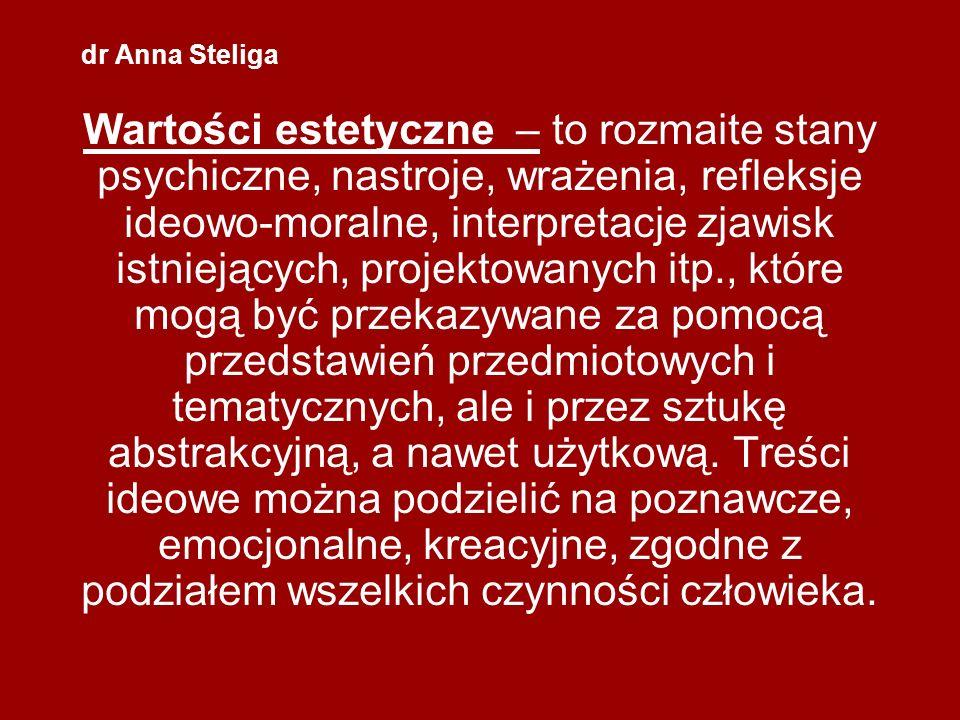 dr Anna Steliga Wartości estetyczne – to rozmaite stany psychiczne, nastroje, wrażenia, refleksje ideowo-moralne, interpretacje zjawisk istniejących,