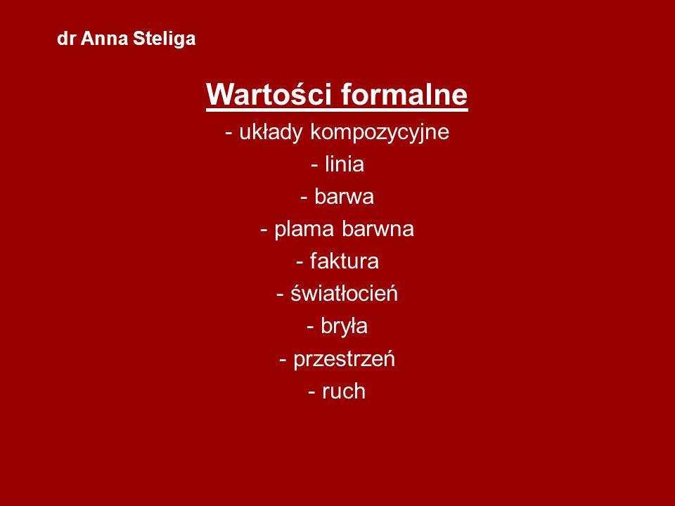 dr Anna Steliga Wartości formalne - układy kompozycyjne - linia - barwa - plama barwna - faktura - światłocień - bryła - przestrzeń - ruch