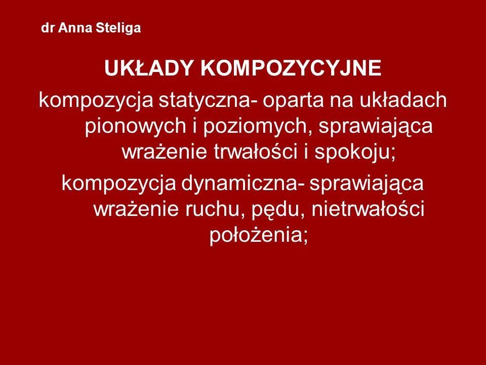 dr Anna Steliga UKŁADY KOMPOZYCYJNE kompozycja statyczna- oparta na układach pionowych i poziomych, sprawiająca wrażenie trwałości i spokoju; kompozyc