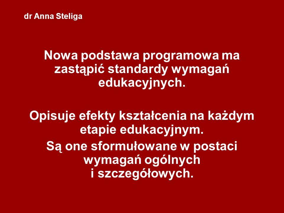 dr Anna Steliga Nowa podstawa programowa ma zastąpić standardy wymagań edukacyjnych. Opisuje efekty kształcenia na każdym etapie edukacyjnym. Są one s