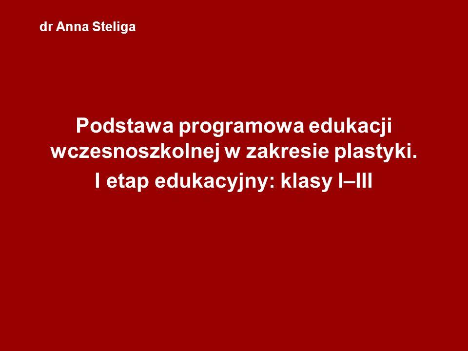 dr Anna Steliga Podstawa programowa edukacji wczesnoszkolnej w zakresie plastyki. I etap edukacyjny: klasy I–III
