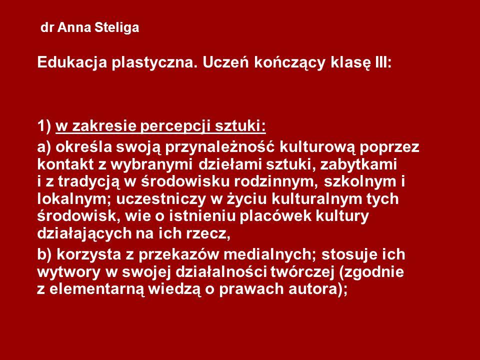 dr Anna Steliga Wartości literackie (tematyka dzieła) – dzieło sztuki, które posiada tę warstwę, nazywane jest przedstawiającym (figuratywnym); dzieło, które nic nie zamierza przedstawić, nazywane jest nieprzedstawiającym (np.