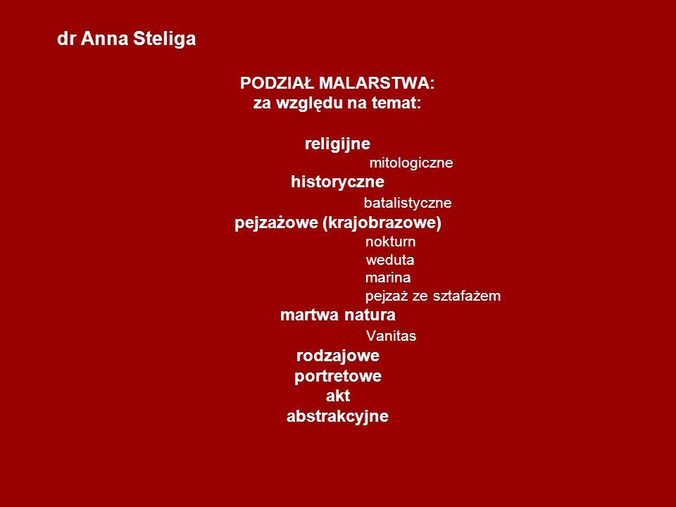 dr Anna Steliga PODZIAŁ MALARSTWA: za względu na temat: religijne mitologiczne historyczne batalistyczne pejzażowe (krajobrazowe) nokturn weduta marin