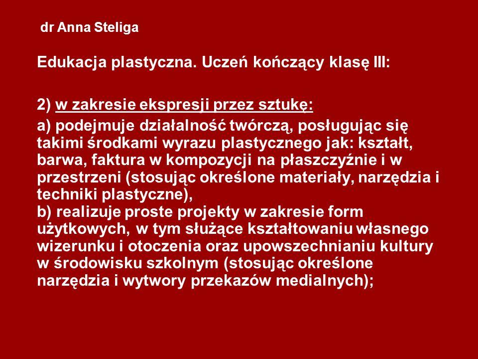 dr Anna Steliga Edukacja plastyczna. Uczeń kończący klasę III: 2) w zakresie ekspresji przez sztukę: a) podejmuje działalność twórczą, posługując się