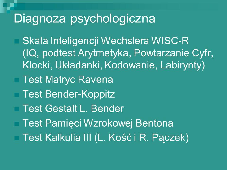 Diagnoza psychologiczna Skala Inteligencji Wechslera WISC-R (IQ, podtest Arytmetyka, Powtarzanie Cyfr, Klocki, Układanki, Kodowanie, Labirynty) Test M