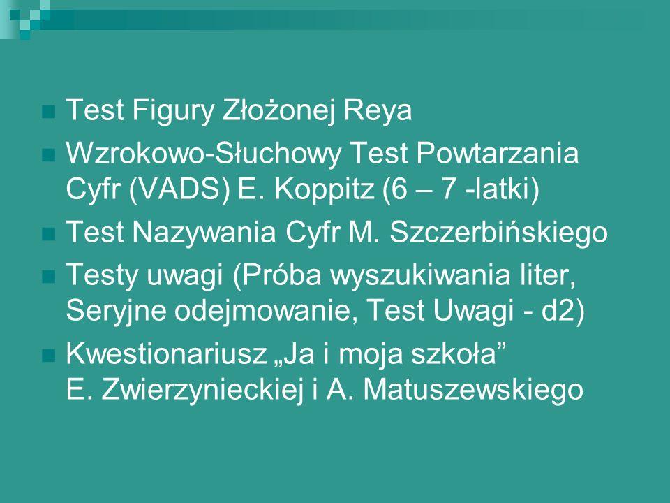 Test Figury Złożonej Reya Wzrokowo-Słuchowy Test Powtarzania Cyfr (VADS) E. Koppitz (6 – 7 -latki) Test Nazywania Cyfr M. Szczerbińskiego Testy uwagi