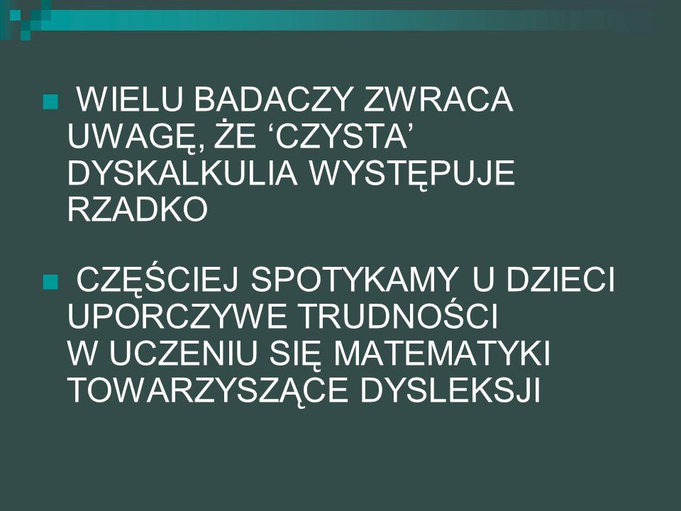 DIAGNOZA DYSLEKSJI WECHSLER: SS niższa od SW, ACID - Wiadomości, Arytmetyka, Powtarzanie Cyfr, Kodowanie (chłopcy) TESTY UMIEJĘTNOŚCI FONOLOGICZNYCH: słuch fonemowy, analiza i synteza fonemowa i sylabowa, świadomość fonologiczna (identyfikacja fonemów i porównywanie struktury fonemowej), pamięć fonologiczna TESTY SZYBKOŚCI NAZYWANIA TESTY PEDAGOGICZNE: czytanie głośne sensownych i bezsensownych słów, czytanie ciche wyrazów i tekstu, pisanie ze słuchu, uzupełnianie wyrazów w zdaniach DIAGNOZA DYSKALKULII WECHSLER: SS wyższa niż SW Arytmetyka, Powtarzanie Cyfr, Klocki, Układanki, Kodowanie, Labirynty TESTY PERCEPCYJNO- MOTORYCZNE: Bender, Benton, Figura Złożona Reya, TESTY UWAGI TESTY PEDAGOGICZNE: sprawdziany wiadomości z matematyki