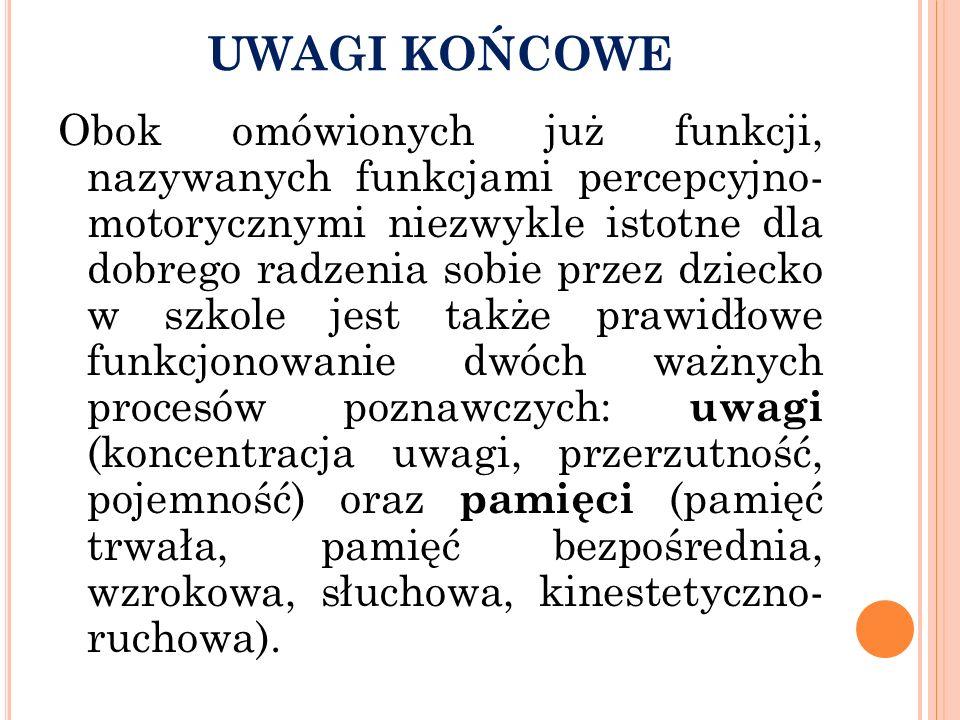 UWAGI KOŃCOWE Obok omówionych już funkcji, nazywanych funkcjami percepcyjno- motorycznymi niezwykle istotne dla dobrego radzenia sobie przez dziecko w