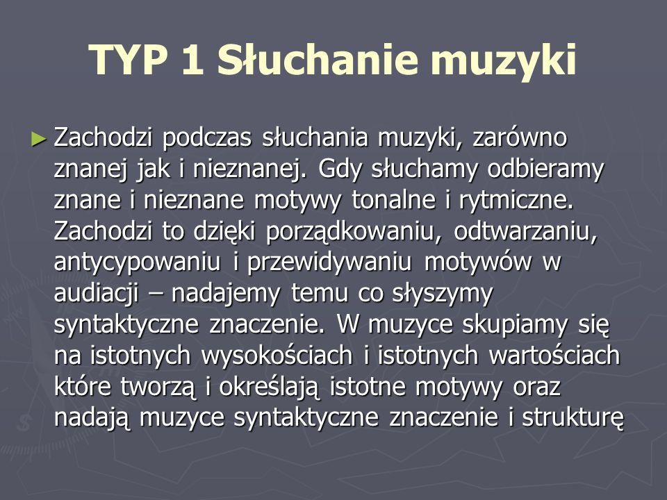 TYP 1 Słuchanie muzyki Zachodzi podczas słuchania muzyki, zarówno znanej jak i nieznanej. Gdy słuchamy odbieramy znane i nieznane motywy tonalne i ryt