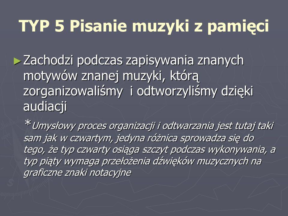 TYP 5 Pisanie muzyki z pamięci Zachodzi podczas zapisywania znanych motywów znanej muzyki, którą zorganizowaliśmy i odtworzyliśmy dzięki audiacji *Umy