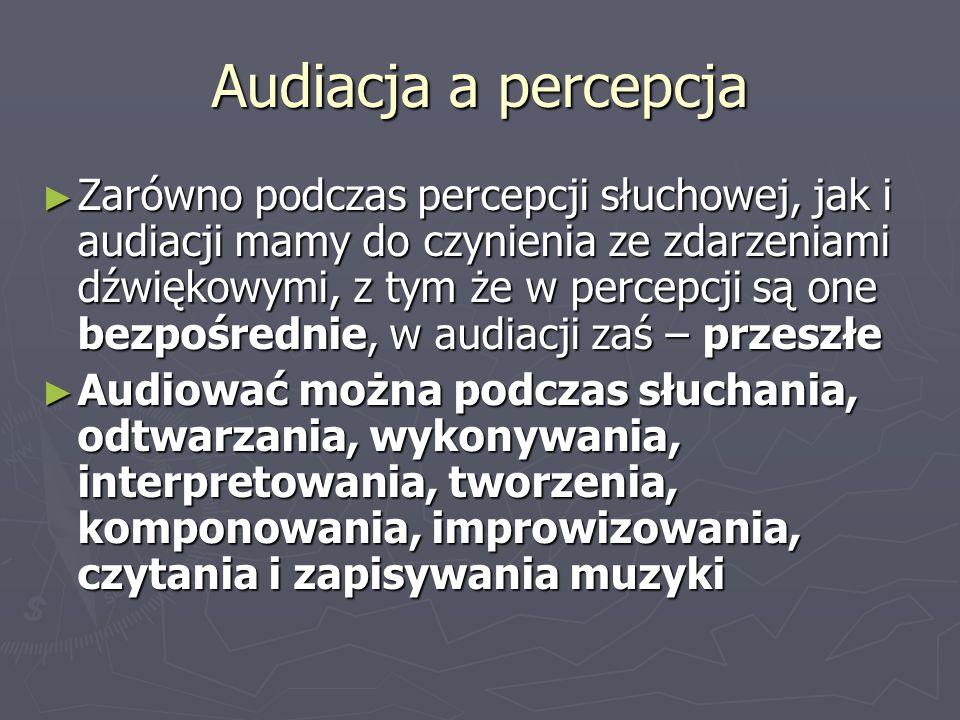 Audiacja a percepcja Zarówno podczas percepcji słuchowej, jak i audiacji mamy do czynienia ze zdarzeniami dźwiękowymi, z tym że w percepcji są one bez