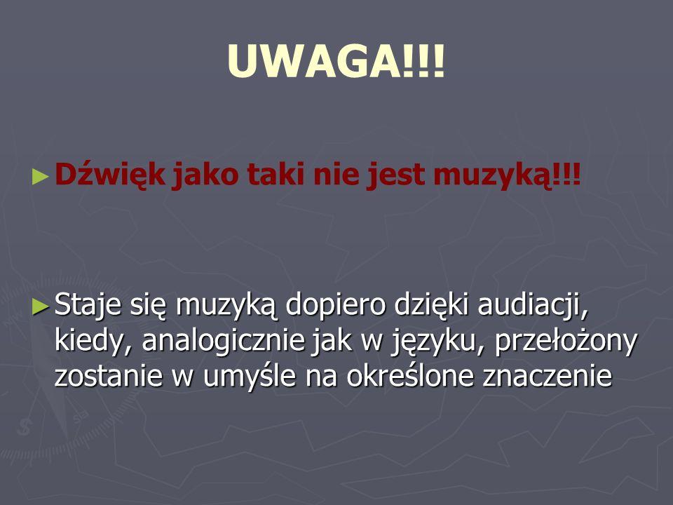 UWAGA!!! Dźwięk jako taki nie jest muzyką!!! Staje się muzyką dopiero dzięki audiacji, kiedy, analogicznie jak w języku, przełożony zostanie w umyśle