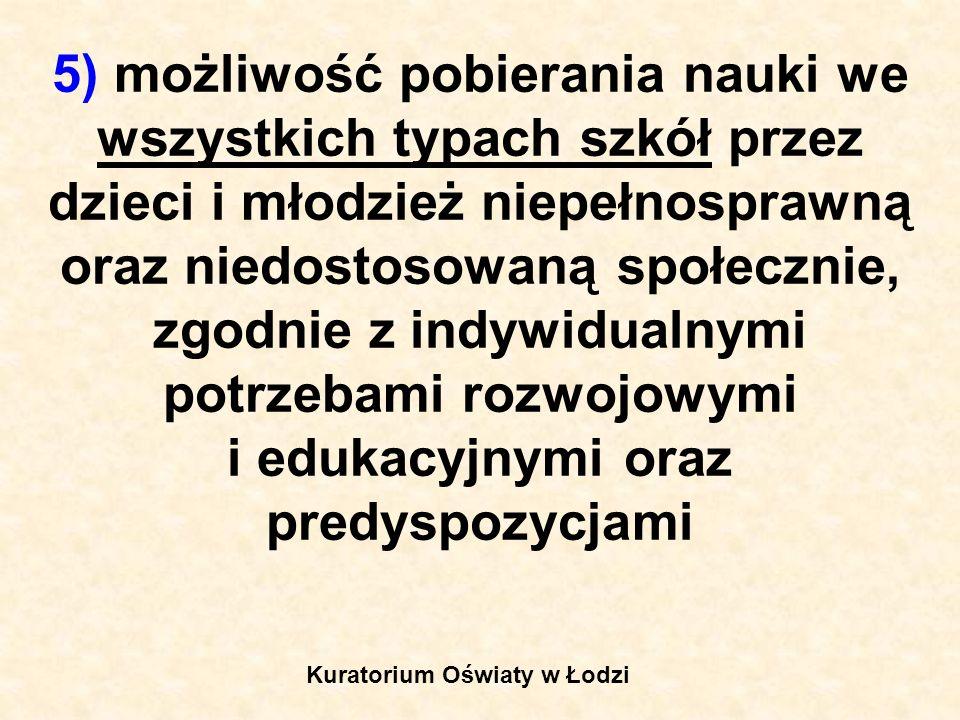 5a) opiekę nad uczniami niepełnosprawnymi przez umożliwianie realizowania zindywidualizowanego procesu kształcenia, form i programów nauczania oraz zajęć rewalidacyjnych, Kuratorium Oświaty w Łodzi
