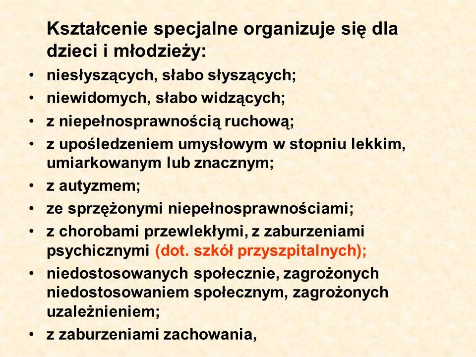 Kształcenie specjalne może być organizowane we wszystkich typach i rodzajach szkół.