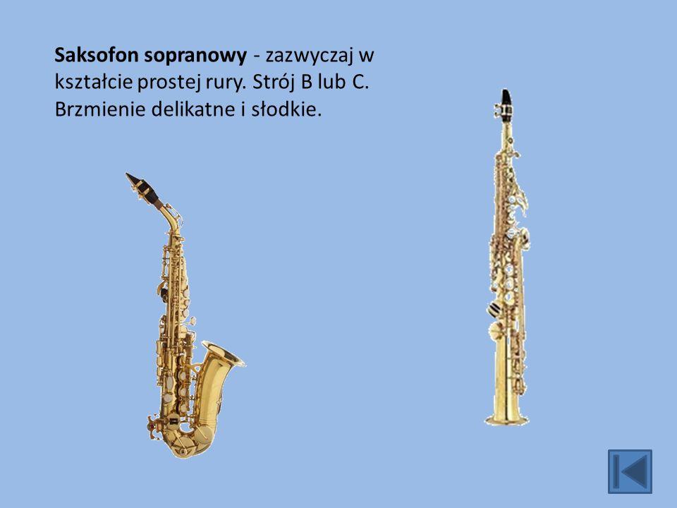 Saksofon sopranowy - zazwyczaj w kształcie prostej rury.