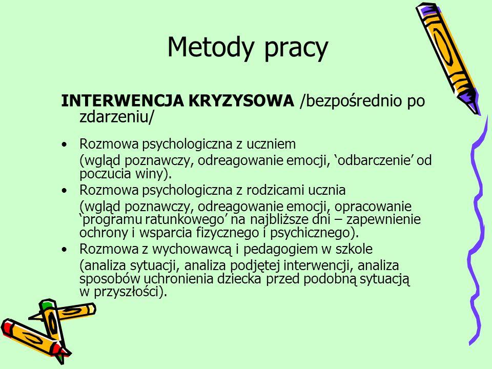 Metody pracy INTERWENCJA KRYZYSOWA /bezpośrednio po zdarzeniu/ Rozmowa psychologiczna z uczniem (wgląd poznawczy, odreagowanie emocji, odbarczenie od