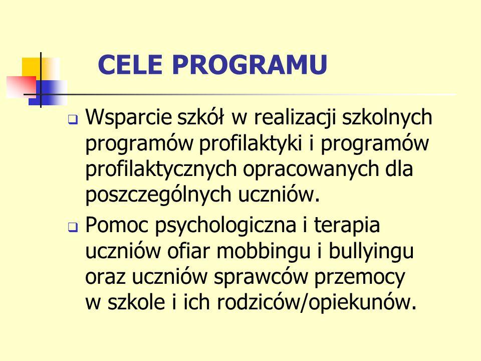 CELE PROGRAMU Wsparcie szkół w realizacji szkolnych programów profilaktyki i programów profilaktycznych opracowanych dla poszczególnych uczniów. Pomoc
