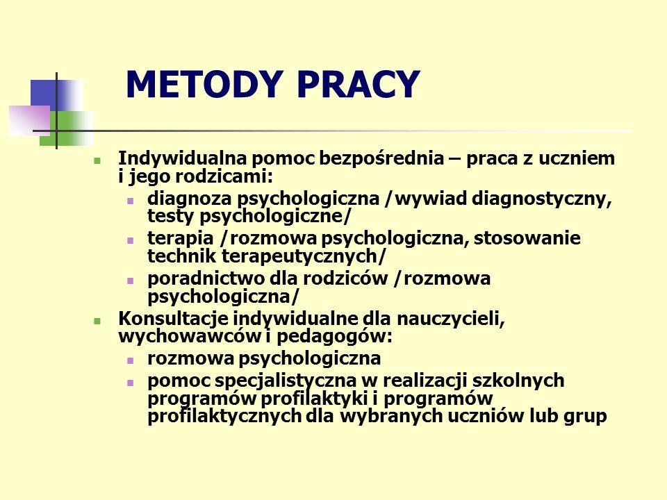 METODY PRACY Indywidualna pomoc bezpośrednia – praca z uczniem i jego rodzicami: diagnoza psychologiczna /wywiad diagnostyczny, testy psychologiczne/