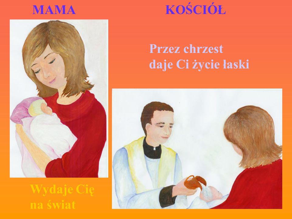 MAMA KOŚCIÓŁ Wydaje Cię na świat Przez chrzest daje Ci życie łaski